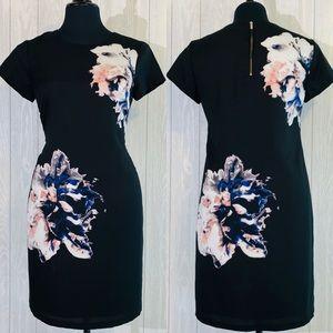 Vince Camuto | black | floral print dress | size 4